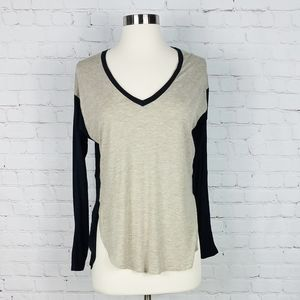 Madewell Anthem Hi-Low V-neck Colorblock Shirt
